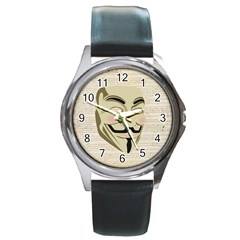 We The Anonymous People Round Leather Watch (silver Rim) by StuffOrSomething
