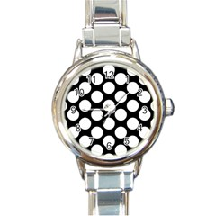 Black And White Polkadot Round Italian Charm Watch by Zandiepants