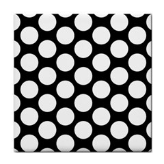 Black And White Polkadot Ceramic Tile by Zandiepants