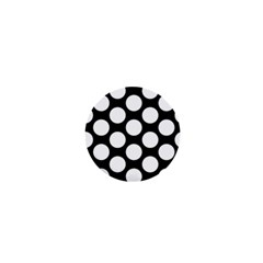 Black And White Polkadot 1  Mini Button Magnet by Zandiepants