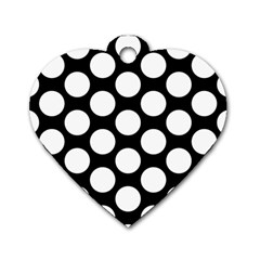 Black And White Polkadot Dog Tag Heart (two Sided) by Zandiepants