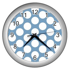 Blue Polkadot Wall Clock (silver) by Zandiepants