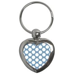 Blue Polkadot Key Chain (heart) by Zandiepants