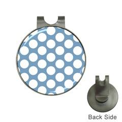 Blue Polkadot Hat Clip With Golf Ball Marker by Zandiepants