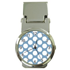 Blue Polkadot Money Clip With Watch