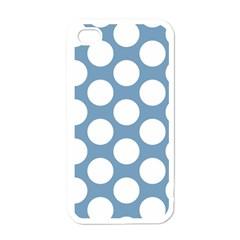 Blue Polkadot Apple Iphone 4 Case (white) by Zandiepants