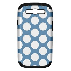 Blue Polkadot Samsung Galaxy S Iii Hardshell Case (pc+silicone) by Zandiepants