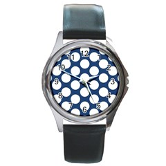 Dark Blue Polkadot Round Leather Watch (silver Rim) by Zandiepants