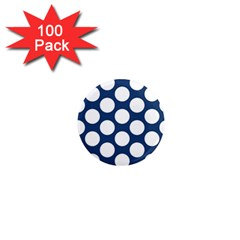 Dark Blue Polkadot 1  Mini Button Magnet (100 Pack) by Zandiepants