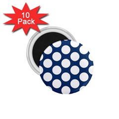 Dark Blue Polkadot 1 75  Button Magnet (10 Pack) by Zandiepants