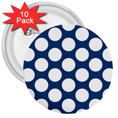 Dark Blue Polkadot 3  Button (10 Pack) by Zandiepants