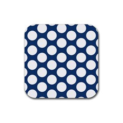 Dark Blue Polkadot Drink Coaster (square) by Zandiepants