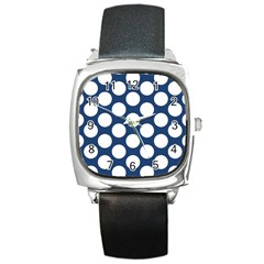Dark Blue Polkadot Square Leather Watch by Zandiepants