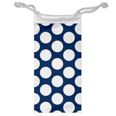 Dark Blue Polkadot Jewelry Bag by Zandiepants