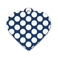 Dark Blue Polkadot Dog Tag Heart (two Sided) by Zandiepants