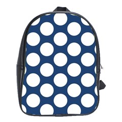 Dark Blue Polkadot School Bag (large) by Zandiepants