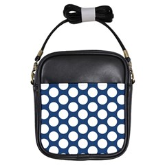 Dark Blue Polkadot Girl s Sling Bag by Zandiepants