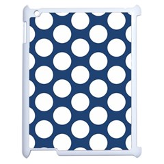 Dark Blue Polkadot Apple Ipad 2 Case (white) by Zandiepants