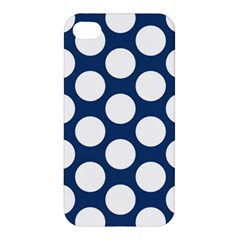 Dark Blue Polkadot Apple Iphone 4/4s Premium Hardshell Case by Zandiepants