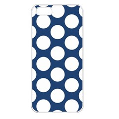 Dark Blue Polkadot Apple Iphone 5 Seamless Case (white) by Zandiepants