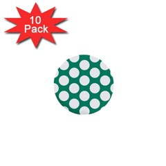 Emerald Green Polkadot 1  Mini Button (10 Pack) by Zandiepants