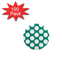 Emerald Green Polkadot 1  Mini Button Magnet (100 Pack) by Zandiepants