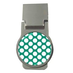 Emerald Green Polkadot Money Clip (round) by Zandiepants