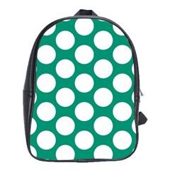 Emerald Green Polkadot School Bag (large) by Zandiepants