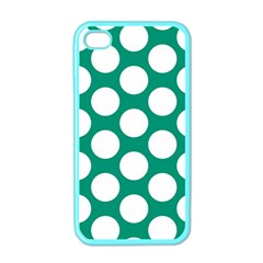 Emerald Green Polkadot Apple Iphone 4 Case (color) by Zandiepants