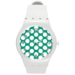 Emerald Green Polkadot Plastic Sport Watch (medium) by Zandiepants