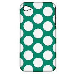 Emerald Green Polkadot Apple Iphone 4/4s Hardshell Case (pc+silicone) by Zandiepants