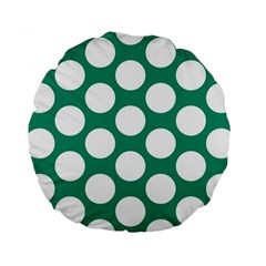 Emerald Green Polkadot 15  Premium Round Cushion  by Zandiepants