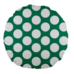 Emerald Green Polkadot 18  Premium Round Cushion  by Zandiepants
