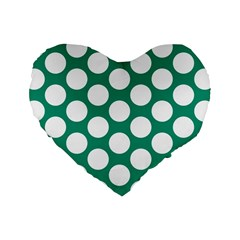 Emerald Green Polkadot 16  Premium Heart Shape Cushion  by Zandiepants