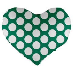 Emerald Green Polkadot 19  Premium Heart Shape Cushion by Zandiepants