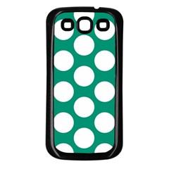 Emerald Green Polkadot Samsung Galaxy S3 Back Case (black) by Zandiepants