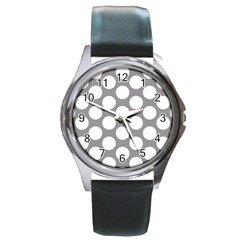 Grey Polkadot Round Leather Watch (silver Rim) by Zandiepants