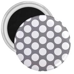 Grey Polkadot 3  Button Magnet by Zandiepants