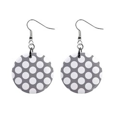 Grey Polkadot Mini Button Earrings