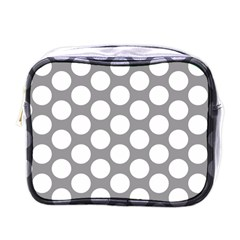 Grey Polkadot Mini Travel Toiletry Bag (one Side) by Zandiepants