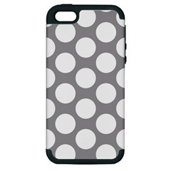 Grey Polkadot Apple Iphone 5 Hardshell Case (pc+silicone) by Zandiepants