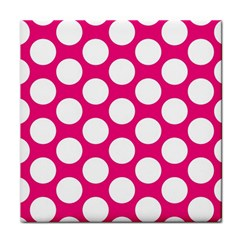 Pink Polkadot Ceramic Tile by Zandiepants