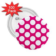 Pink Polkadot 2 25  Button (100 Pack) by Zandiepants