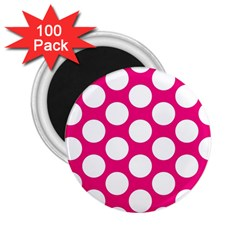 Pink Polkadot 2 25  Button Magnet (100 Pack) by Zandiepants