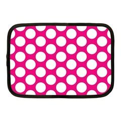 Pink Polkadot Netbook Sleeve (medium) by Zandiepants
