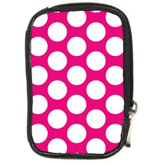 Pink Polkadot Compact Camera Leather Case