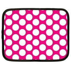 Pink Polkadot Netbook Sleeve (xxl) by Zandiepants