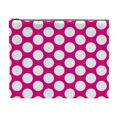 Pink Polkadot Cosmetic Bag (xl) by Zandiepants