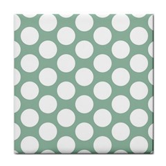 Jade Green Polkadot Ceramic Tile by Zandiepants