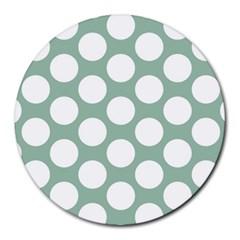 Jade Green Polkadot 8  Mouse Pad (round) by Zandiepants